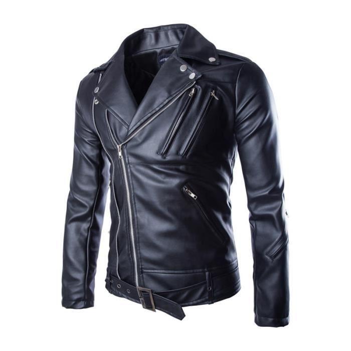 Veste blouson cuir homme moto biker jacket moto noir noir achat vente - Chutes de cuir pas cher ...