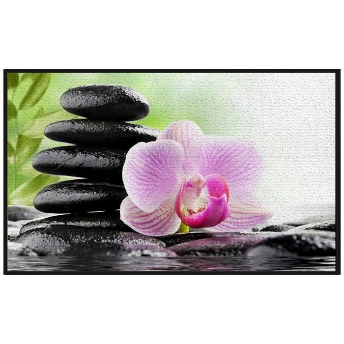 Tapis d co zen salle de bain cuisine colonne galets noir for Colonne de salle de bain rose