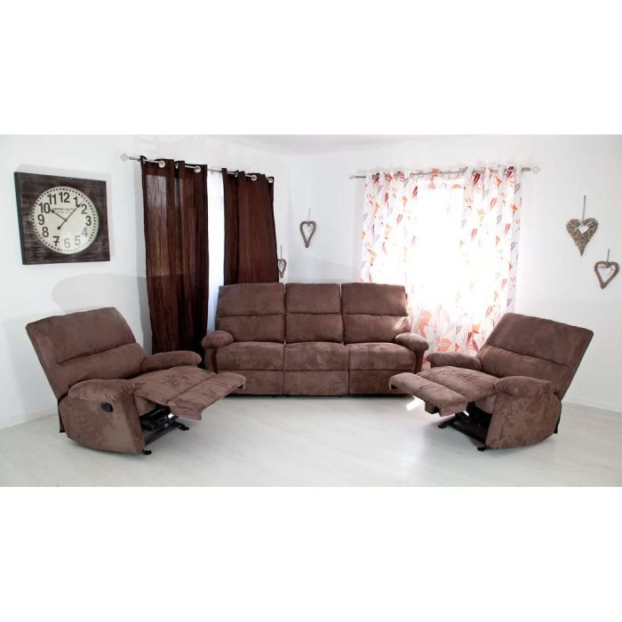 Canap l on 3 places relax 2 fauteuils relax achat for Canape 2 places fauteuil assorti