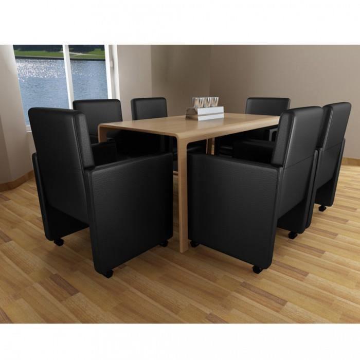 chaises de cuisine et de salle a manger fauteuil a roulettes noir lot de 6 achat vente. Black Bedroom Furniture Sets. Home Design Ideas