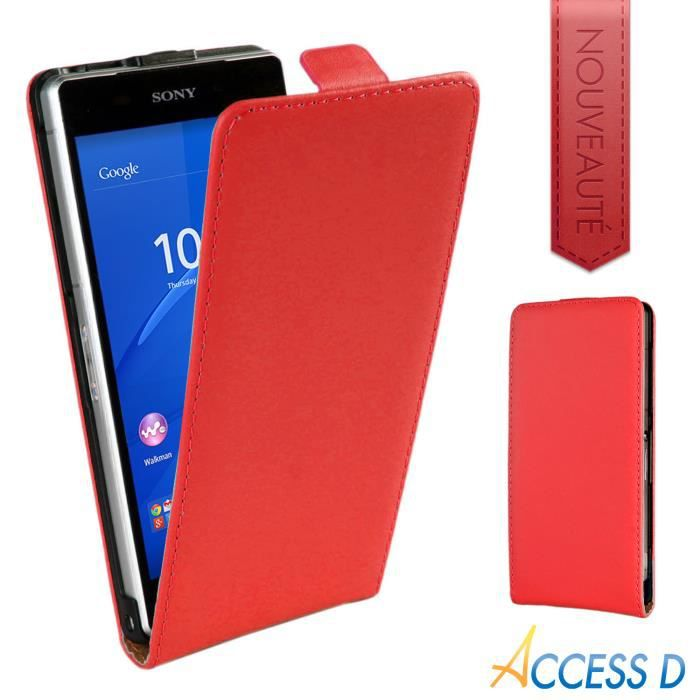 Housse flip bas rouge sony xperia z3 compact achat for Housse xperia x compact