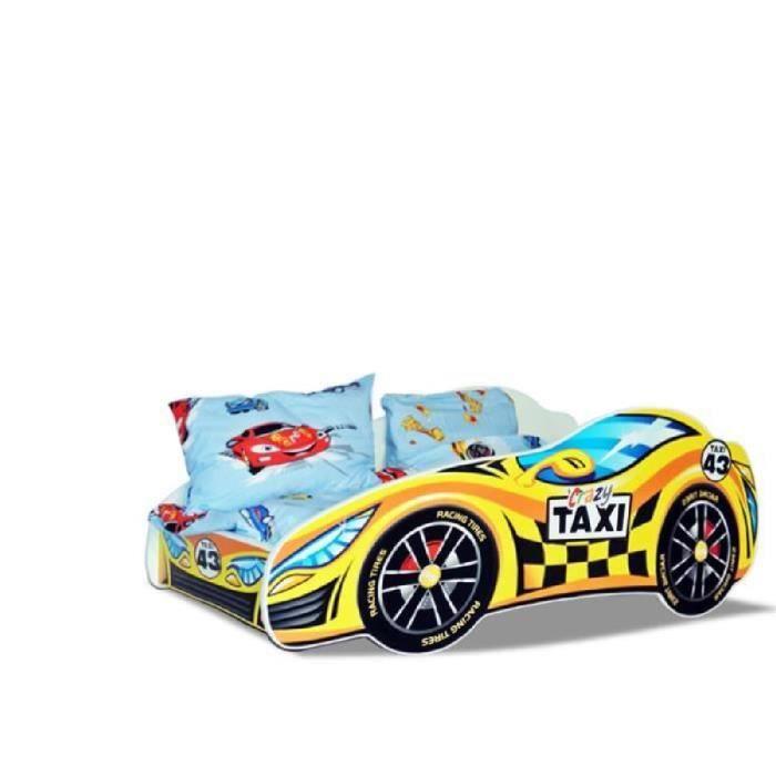 lit enfant taxi jaune sommier matelas 140x70 cm achat vente lit complet lit enfant taxi. Black Bedroom Furniture Sets. Home Design Ideas