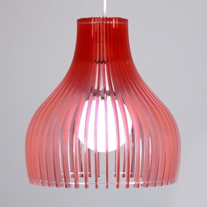 abats jour moderne et int ressant cloche nervures acrylique rouge translucide achat vente. Black Bedroom Furniture Sets. Home Design Ideas