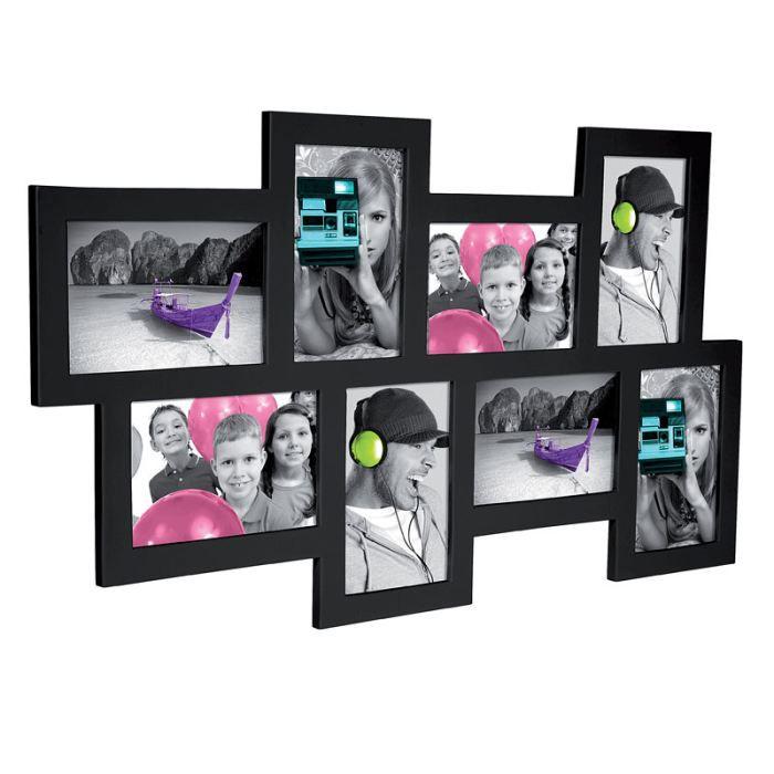cadre 8 photos en bois noir achat vente cadre photo les soldes sur cdiscount cdiscount. Black Bedroom Furniture Sets. Home Design Ideas