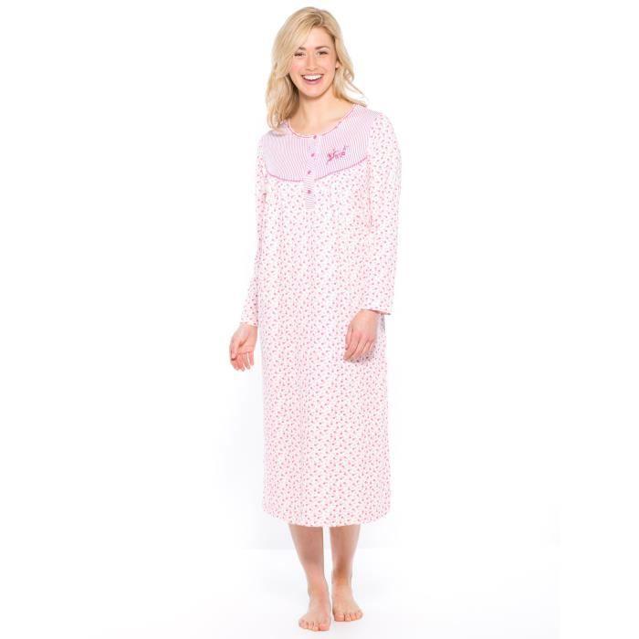 chemise de nuit manches longues lot de 2 imprime rose imprime blanc achat vente chemise. Black Bedroom Furniture Sets. Home Design Ideas