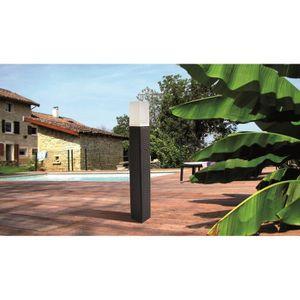 MUNDUS Potelet tressé solaire en plastique 9x9x80 cm - Noir