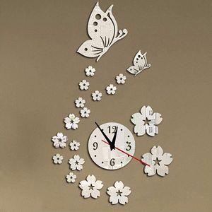 HORLOGE 3D Horloge Murale Papillon Fleur Sticker Décor Mai
