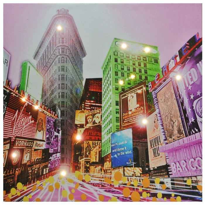 Tableau toile lumineuse led deco times square n achat for Tableau lumineux new york