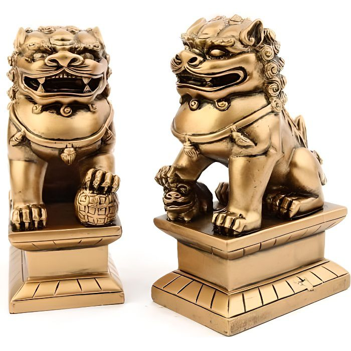 paire de statuettes chiens fu 2 lions chinois achat vente statue statuette cdiscount. Black Bedroom Furniture Sets. Home Design Ideas