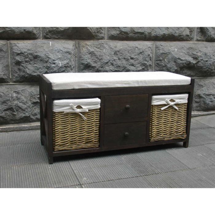 banc en bois deux tiroirs et deux paniers achat vente banc bois en osier tissu cdiscount. Black Bedroom Furniture Sets. Home Design Ideas