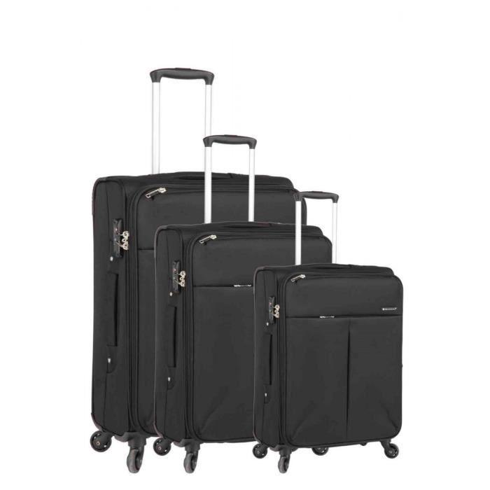 bagage snowball lot de 3 valise tissu 4 roues noir noir. Black Bedroom Furniture Sets. Home Design Ideas