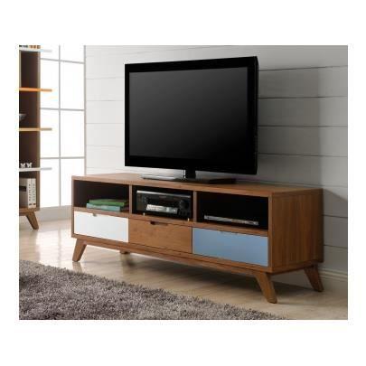 meuble tv baltic 3 tiroirs 3 niches mdf bleu achat vente meuble tv meuble tv baltic. Black Bedroom Furniture Sets. Home Design Ideas