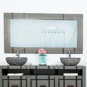 Grand miroir en bois achat vente grand miroir en bois for Miroir metal pas cher