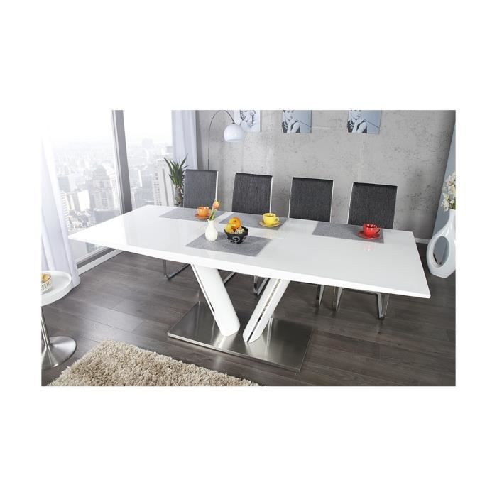 Table manger blanc laqu extensible valencia 160 220 for Table blanc laque extensible