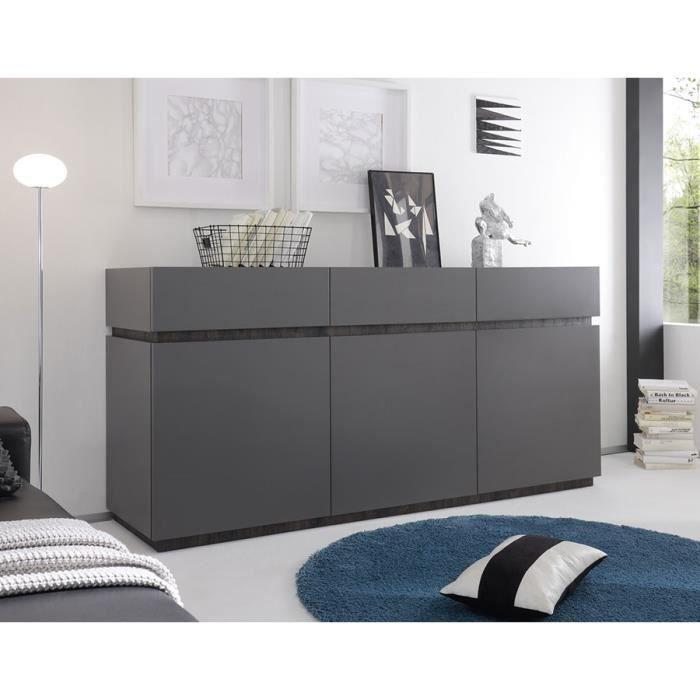 buffet bahut gris ou blanc laqu mat legos gris achat. Black Bedroom Furniture Sets. Home Design Ideas