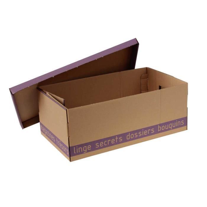 Boite bazar ecru violet lot 3 box and beyond achat for Decoration d une boite en carton