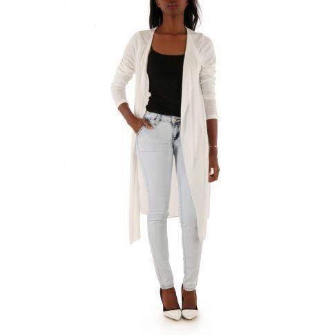 gilet long manches 3 4 blanc blanc achat vente gilet cardigan gilet long manches 3 4 blanc. Black Bedroom Furniture Sets. Home Design Ideas