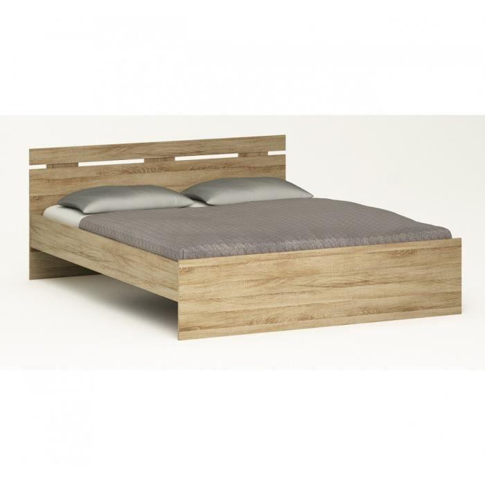Lit en bois naturel 140x190 t te de lit avec clairage - Tete de lit bois naturel ...