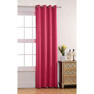 double rideau couleur fushia achat vente double rideau couleur fushia pas cher cdiscount. Black Bedroom Furniture Sets. Home Design Ideas