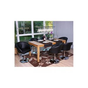6 chaises r glable en hauteur noir achat vente chaise for Chaise reglable en hauteur