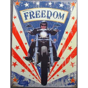 Deco plaques fer ou plaque emaillee  Plaque-pub-freedom-biker-avec-moto-deco-garage-usa