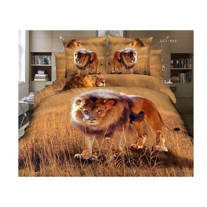 Parure de lit lion coton 200 230 cm 3d effet 4 piece - Housse de couette contemporaine ...