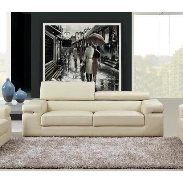 Canap 3 places beige design en cuir vachette achat vente canap sofa divan cuir bois - Canape cuir beige 3 places ...