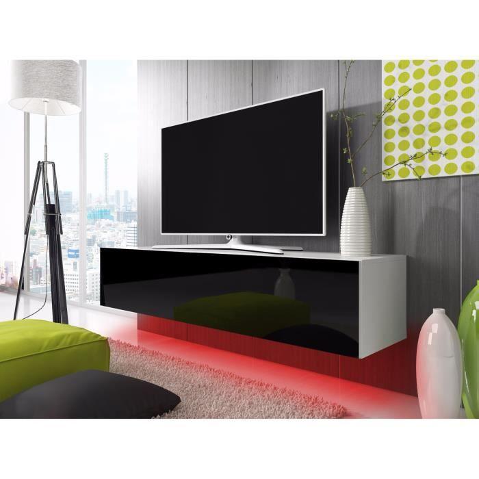 meuble tv lana avec led rouge blanc mat noir brillant 140cm achat vente meuble tv meuble. Black Bedroom Furniture Sets. Home Design Ideas