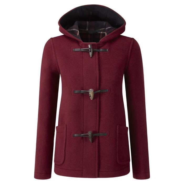 duffle coat court femme rouge bordeaux achat vente manteau caban cdiscount. Black Bedroom Furniture Sets. Home Design Ideas