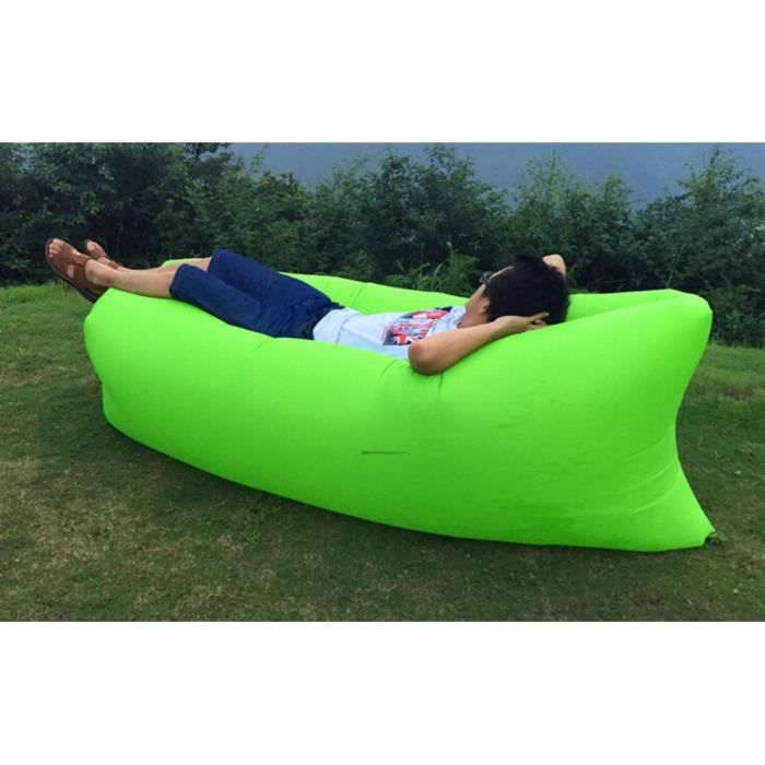 260 70cm vert rapide gonflable canap air sommeil camping for Canape gonflable exterieur