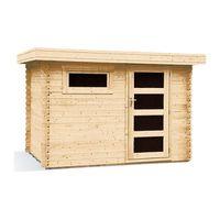 Abri de jardin toit plat bois massif 5 9m 28mm achat - Abri jardin bois 28mm ...