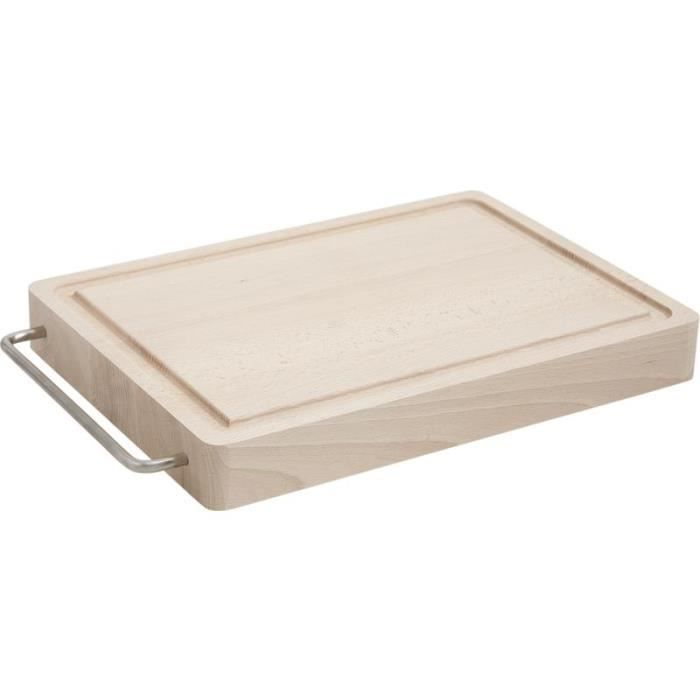 Planche d couper en bois rainure poign e inox achat for Planche inox cuisine
