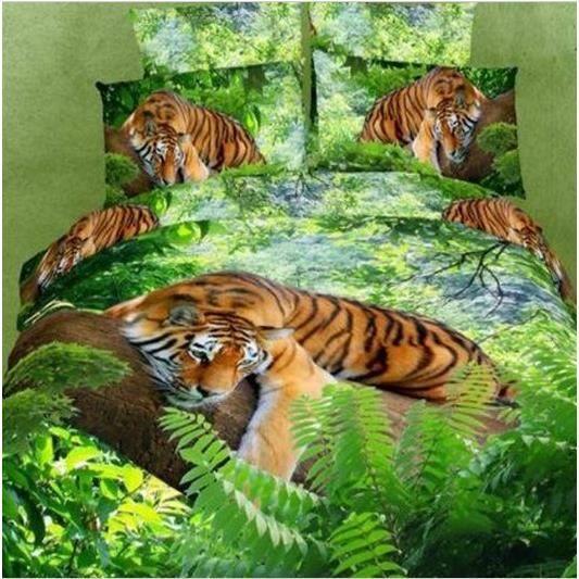 parure 3d 2 personnes tigre dans foug re achat vente parure de drap soldes cdiscount. Black Bedroom Furniture Sets. Home Design Ideas