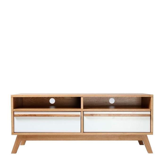 Meuble tv gaya 2 portes 2 niches blanc et bois achat for Meubles la redoute nouvelle collection