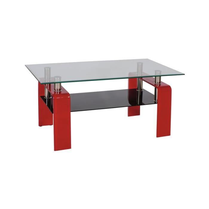 Justhome stella table de salon table basse couleur rouge h x l x l 55 - Table de salon rouge ...
