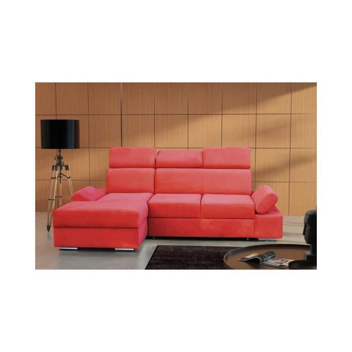 justhome linea canap d 39 angle en cuir cologique rouge l x p 245 170 cm achat vente canap. Black Bedroom Furniture Sets. Home Design Ideas
