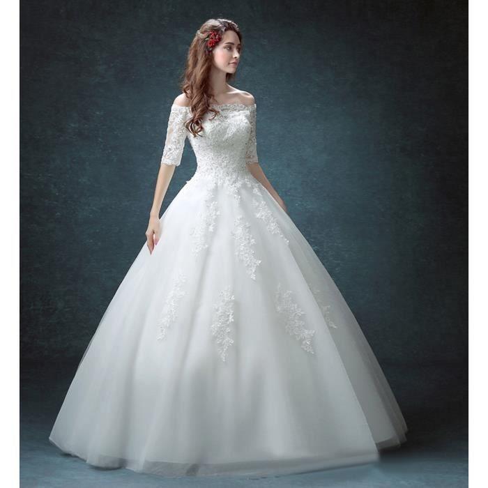 Robe de mariée-mariage longue du plancher épaules dénudées avec ...