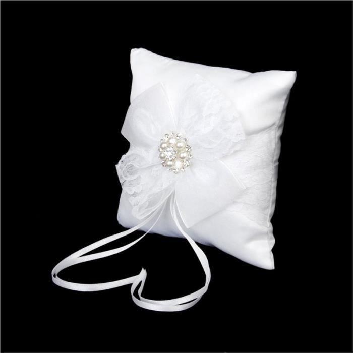 Coussin d 39 alliance porte alliance mariage 15 15cm blanc achat vente - Porte alliance mariage ...