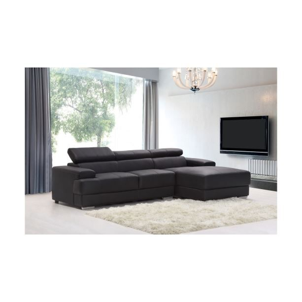 canap d 39 angle en cuir odyssee noir achat vente canap sofa div. Black Bedroom Furniture Sets. Home Design Ideas