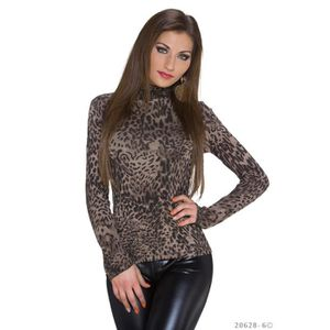 PULL pull sous pull leopard col montant sexy femme