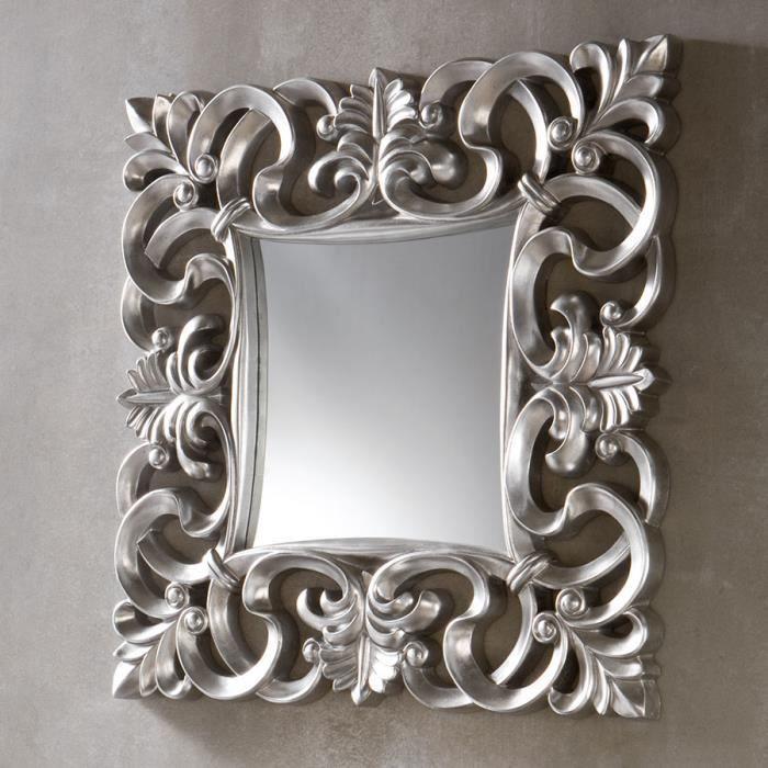 Miroir mural carr design sally 4 couleurs au choix gris for Miroir rectangulaire argent