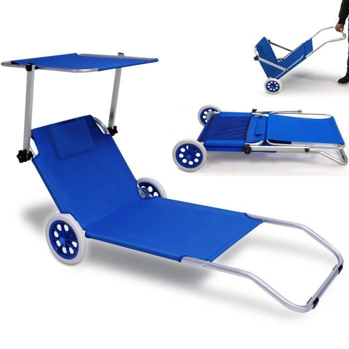 Chaise longue pliable bleu jardin achat vente chaise for Chaise longue avec pare soleil