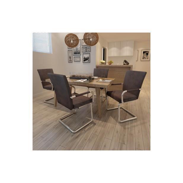 Superbe ensemble de 4 chaises de salle manger marron for Ensemble de salle a manger