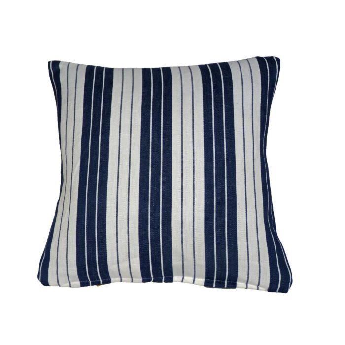 40cm coton housse de coussin bleu marine ray achat vente housse de coussin cdiscount. Black Bedroom Furniture Sets. Home Design Ideas