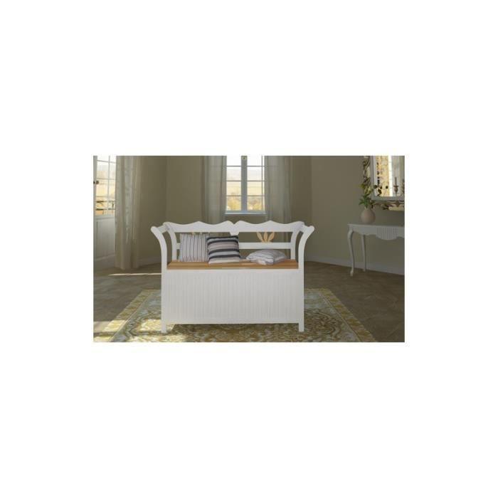 banc en bois massif avec coffre achat vente banc blanc cdiscount. Black Bedroom Furniture Sets. Home Design Ideas