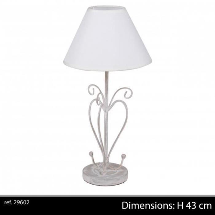 lampe chevet coeur m tal aj gris 43 cm lampe achat. Black Bedroom Furniture Sets. Home Design Ideas