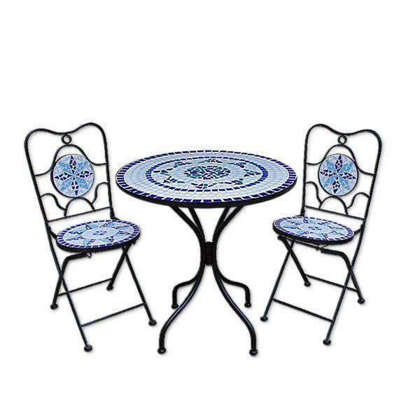 Salon de jardin neptune en mosaique 2 1 achat vente for Salon de jardin mosaique