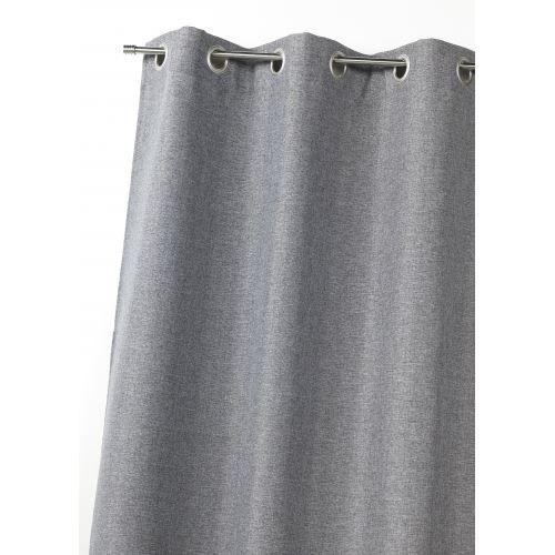 rideau en toile unie gris 140 x 260cm achat vente rideau toile 100 polyester cdiscount. Black Bedroom Furniture Sets. Home Design Ideas