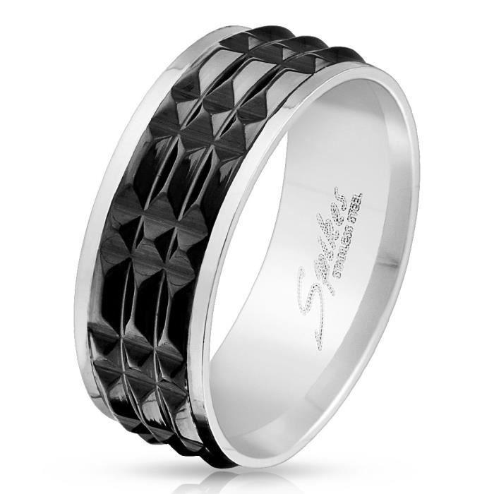 bague homme acier pyramide noir pas cher gris e gris et noir achat vente bague anneau. Black Bedroom Furniture Sets. Home Design Ideas