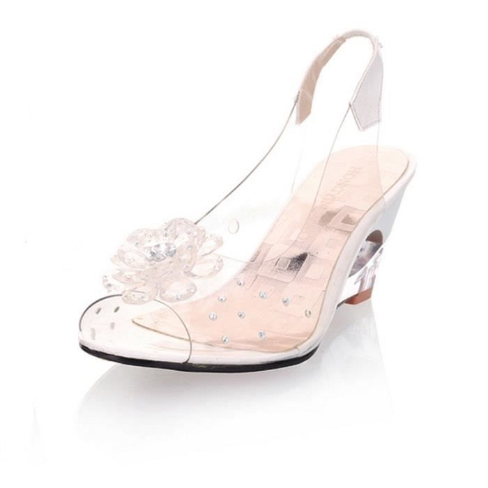 escarpin hee grand femme sandale compens transparent - Chaussures Compenses Blanches Mariage